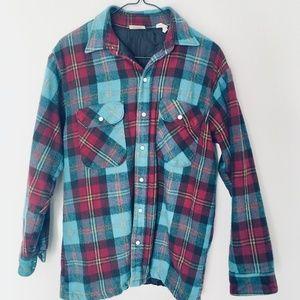 Vintage Plaid Thick Button Up Flannel Jacket